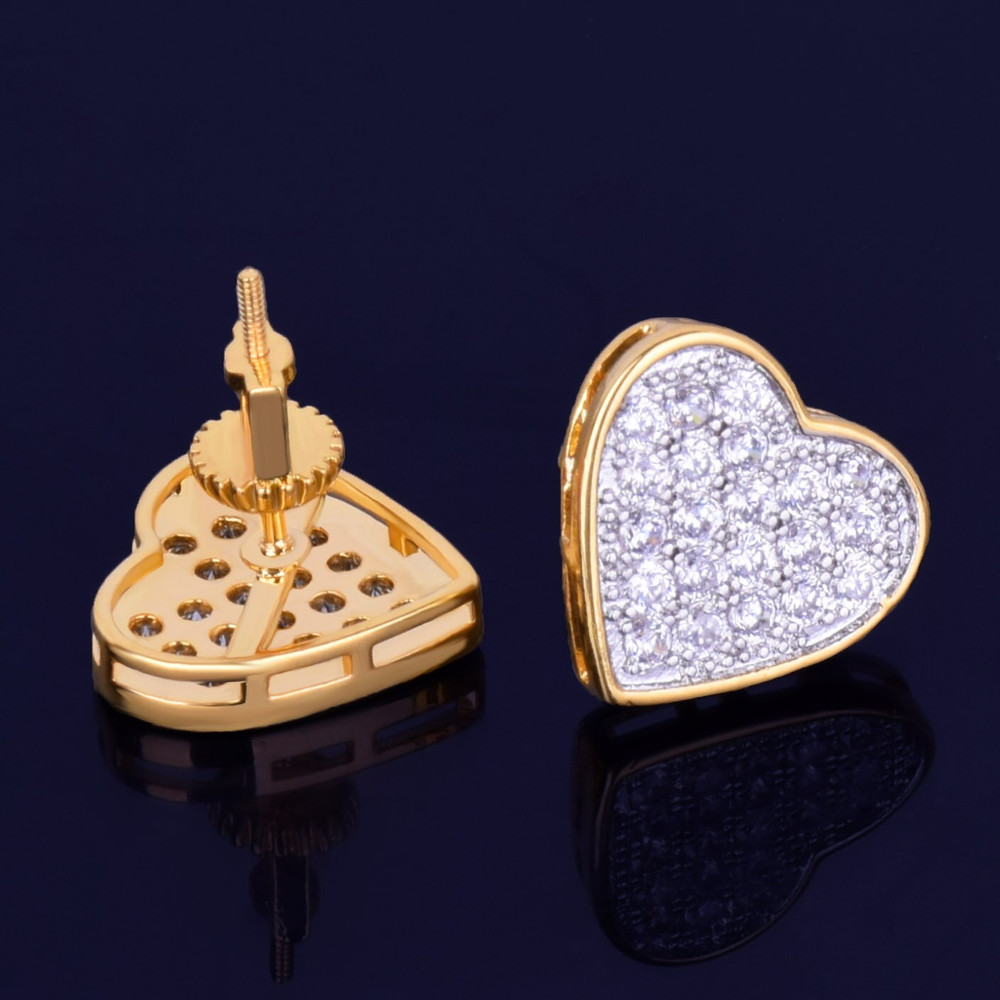 14MM Heart-Shaped 14k Gold Silver Stud AAA Micro Pave Bling Stone Screw Back Earrings