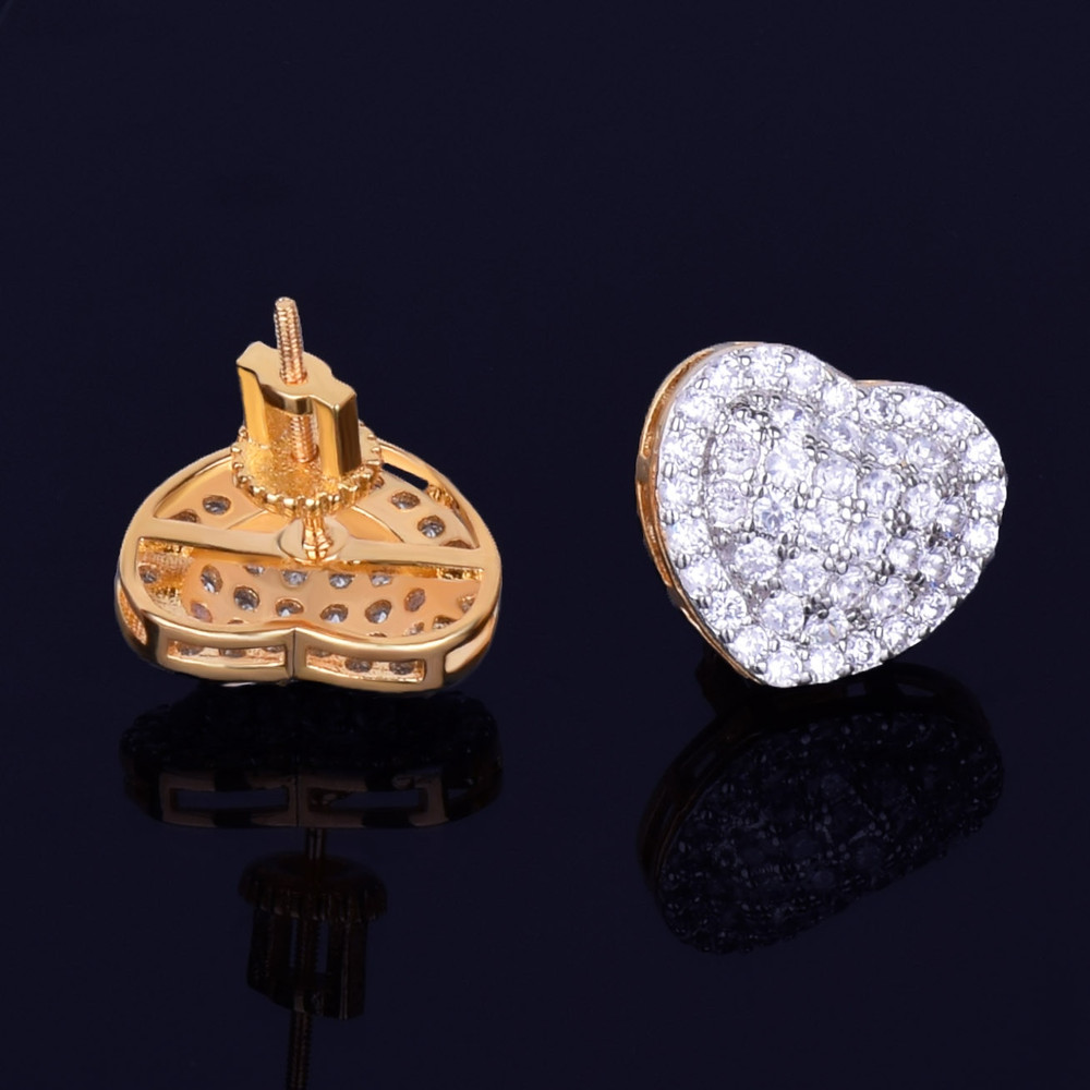 14MM Heart-Shaped AAA Micro Pave Stud 14k Gold Silver Simulate Diamond Bling Earrings