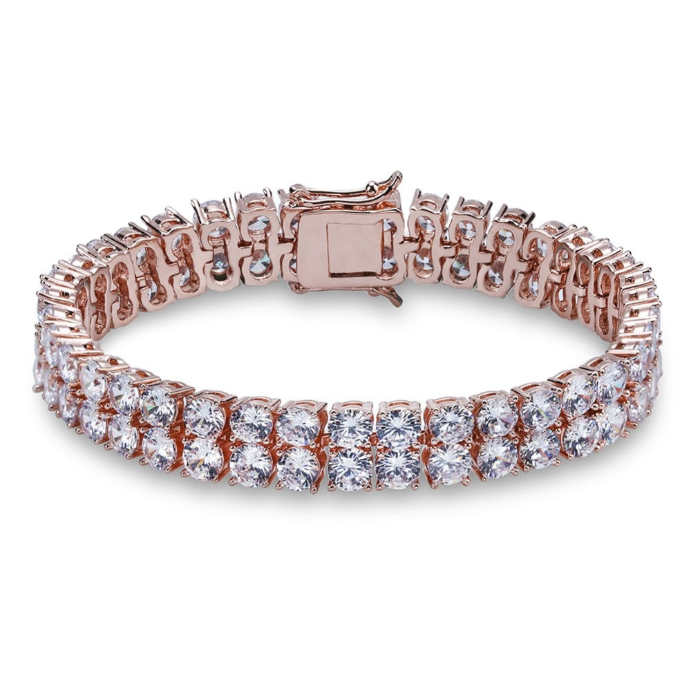 High Quality 2 Rows Of Ice AAA Stone Big Boy Tennis Bracelet 18k Gold Silver Rose Gold