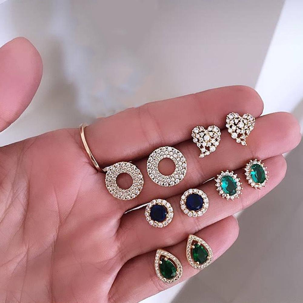 Women Classic Crystal Heart Round Gemstone Bling 10 Piece Earrings Fashion Set