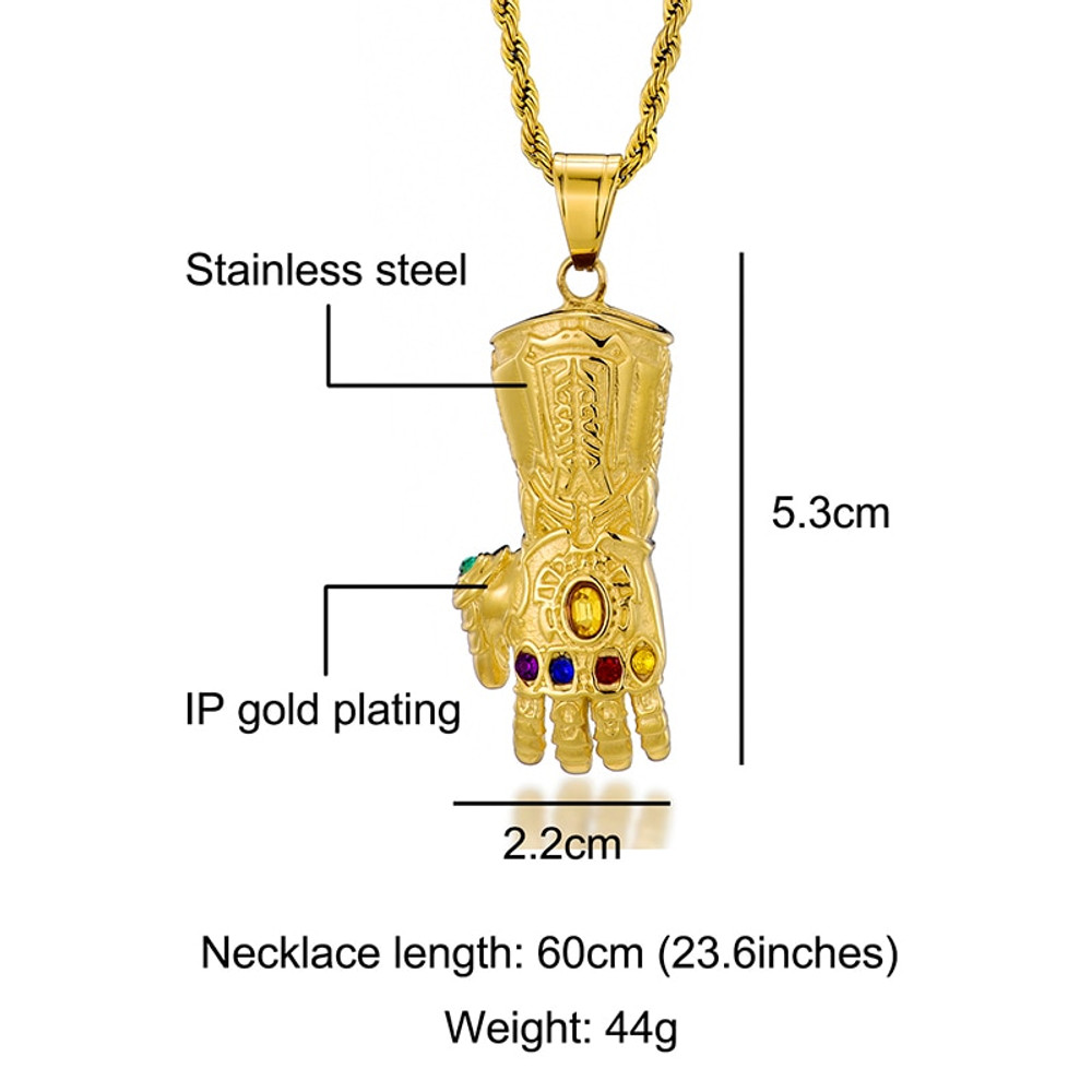 14k Real Gold Over Stainless Steel Hip Hop Natural Stone Thanos Gloves Pendant Chain Necklace