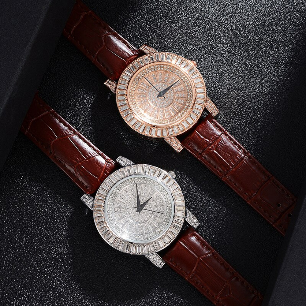 Full Baguette Iced Leather Fashion Stainless Steel High Fashion Bling Wristwatch Watch