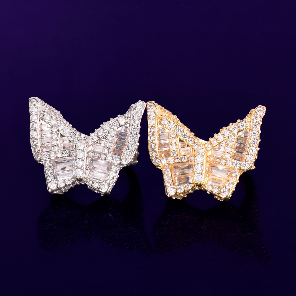 Real 18k Gold .925 Silver Flooded Ice Baguette Butterfly Bustdown Iced Hip Hop Rings