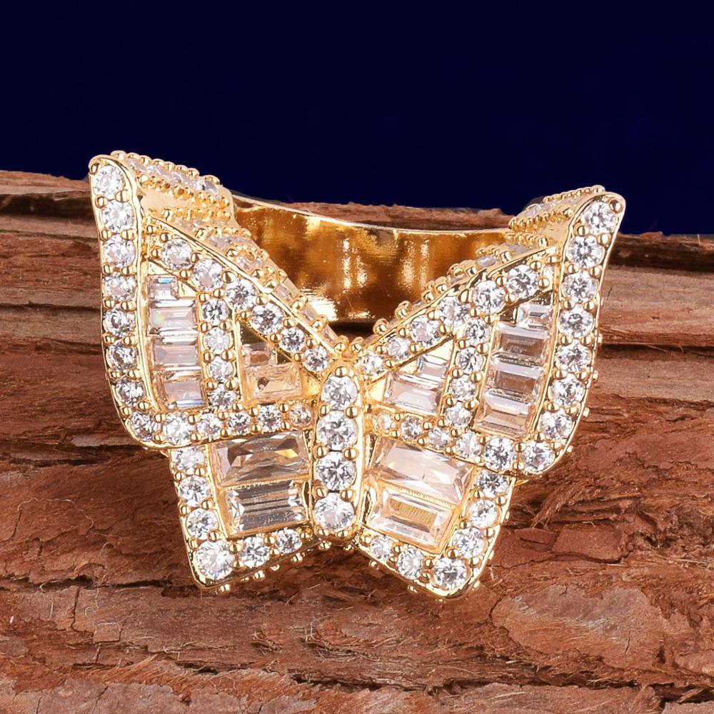 Baguette Stone Butterfly Rings