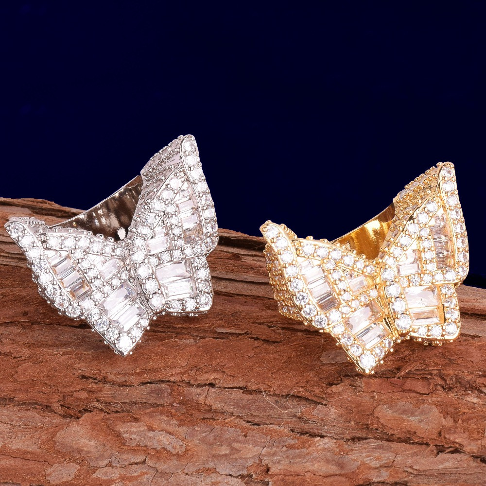 Silver Rose Gold Baguette Stones Butterfly Rings