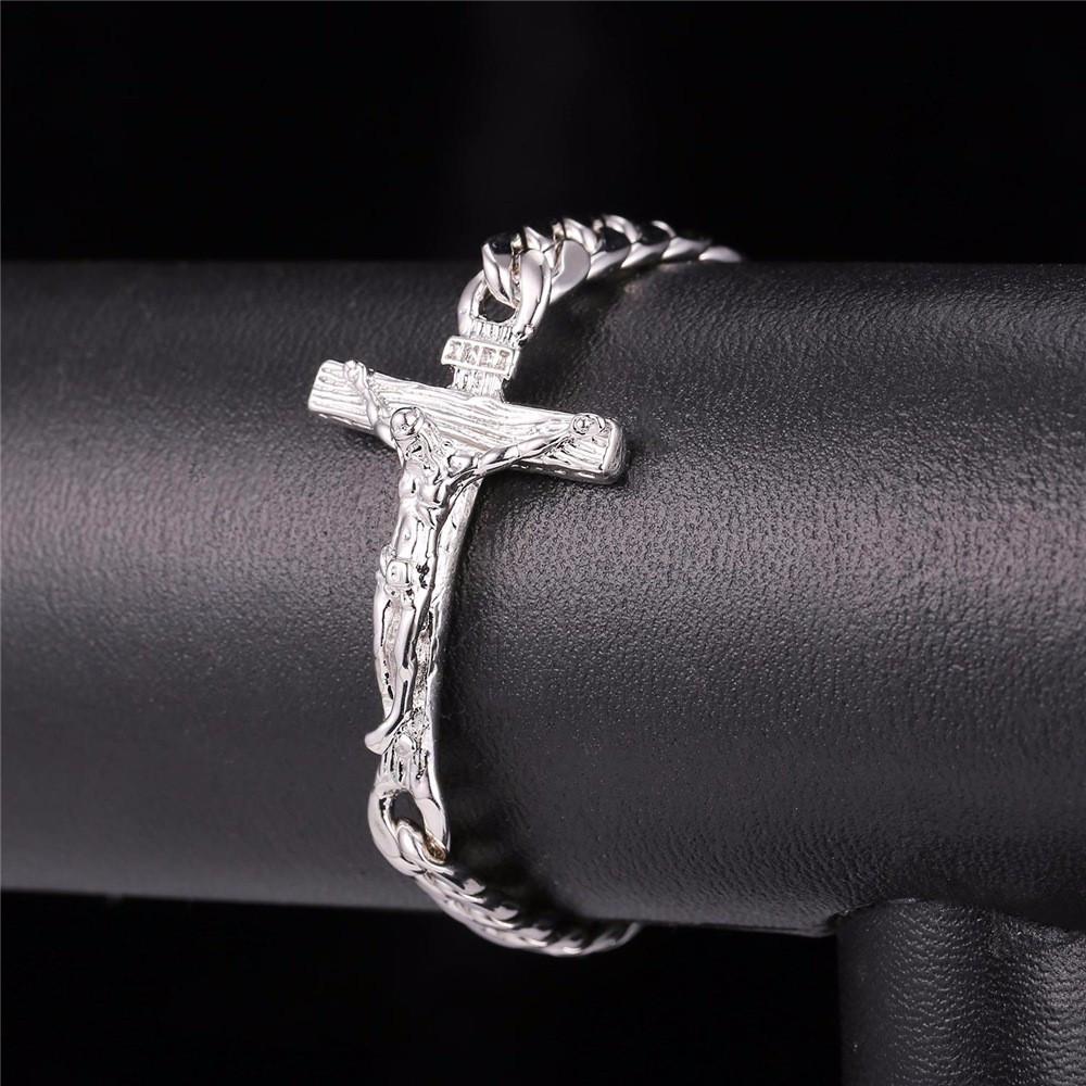 14k Rose Gold Black Platinum INRI Crucifix Jesus Piece Cuban Link Cross Bracelet