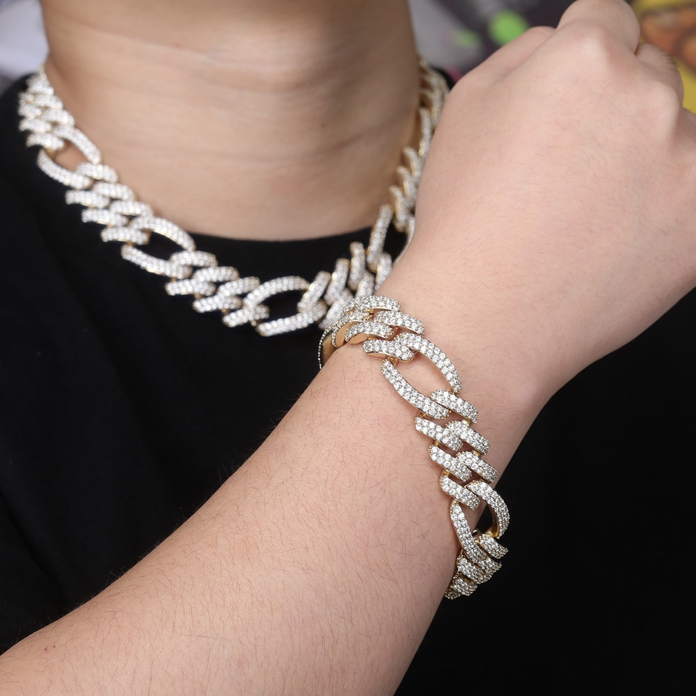 18mm Flooded Ice Three Link Figaro 14k Gold .925 Silver Hip Hop Bracelet