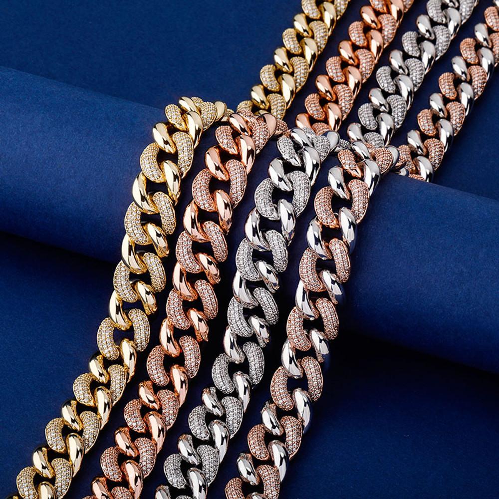 Rose Gold 14k 925 Silver 16mm Miami Cuban Link Designer Hip Hop Chain Necklace