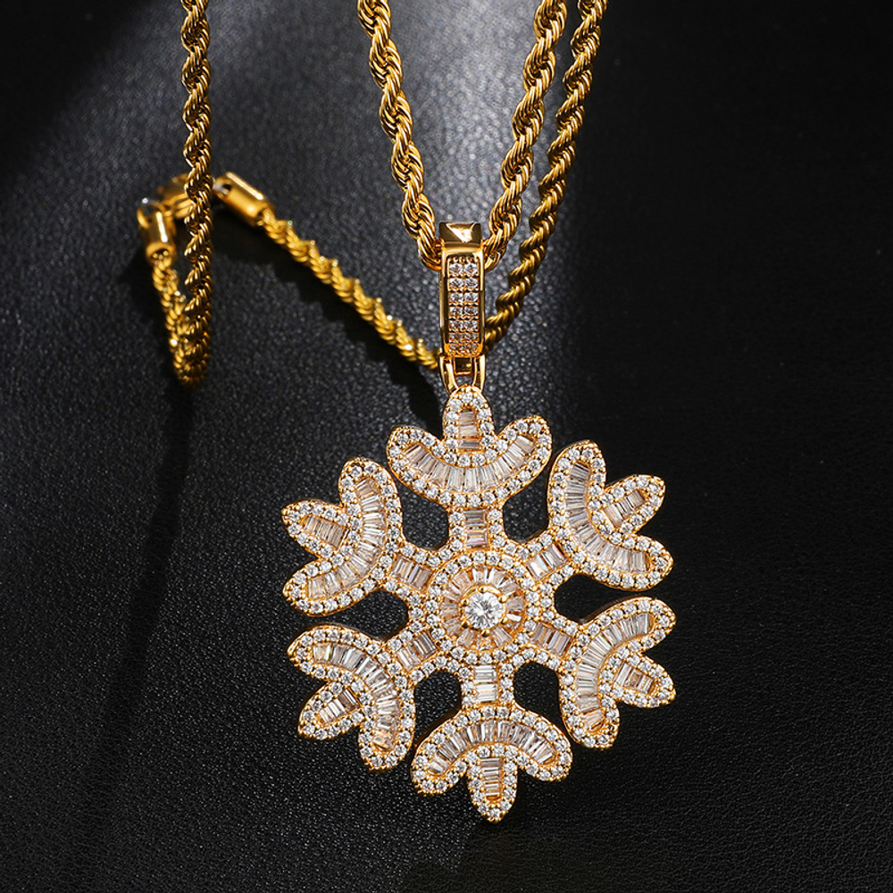 18k Gold Princess Cut Snowfall Snowflake Flooded Ice Chain