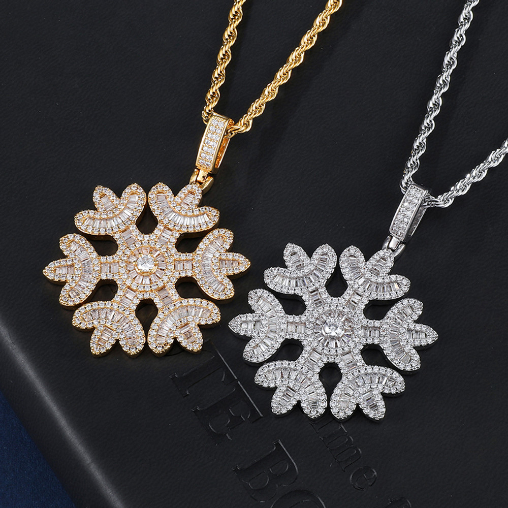 Snowfall Flooded Ice Princess Cut AAA Micro Pave Snowflake Hip Hop Pendant Chain Necklace