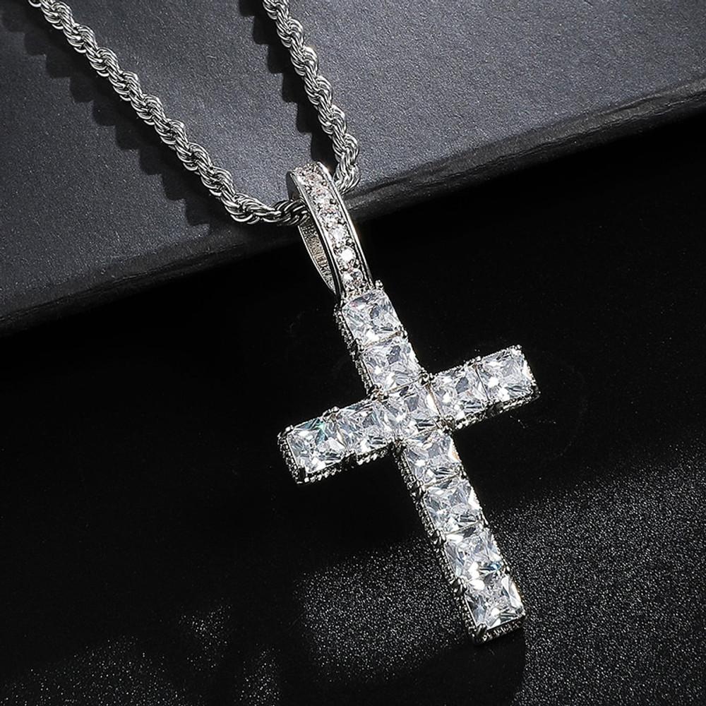 Flooded Ice Prong Set AAA Baguette Stone 18k Gold .925 Silver Bling Cross Pendant