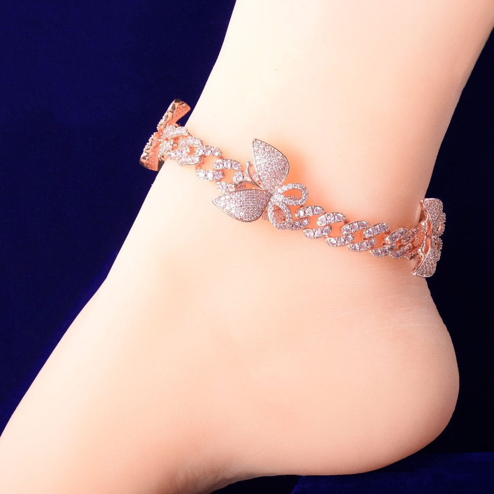 AAA True Micro Pave 18k Gold 10mm Pink Butterfly Miami Cuban Link Ankle Anklets Bracelet