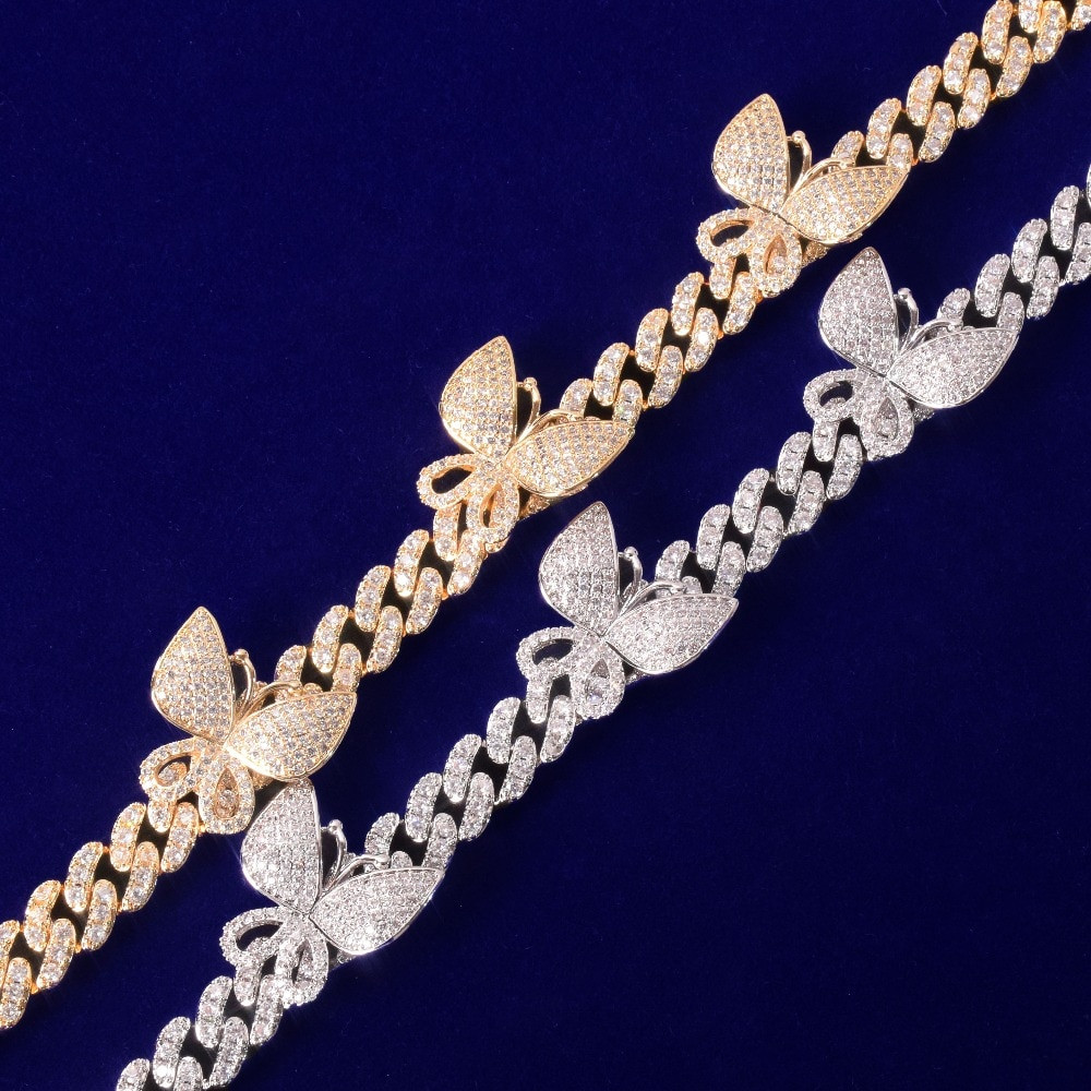 AAA True Micro Pave 18k Gold .925 Silver 10mm Butterfly Miami Cuban Link Ankle Anklets Bracelet