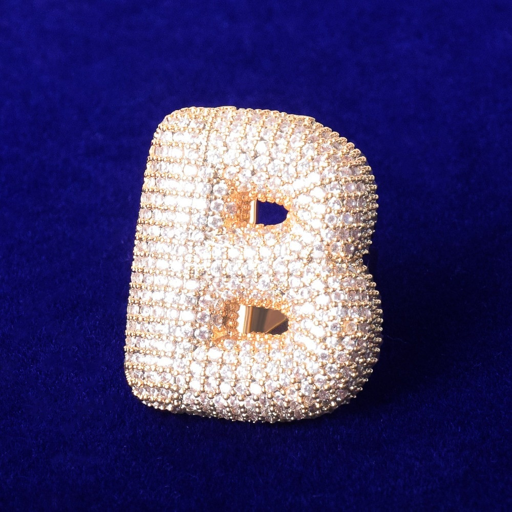18k Gold .925 Silver Rose Gold Bubble Letter AAA Flooded Ice Hip Hop Rings