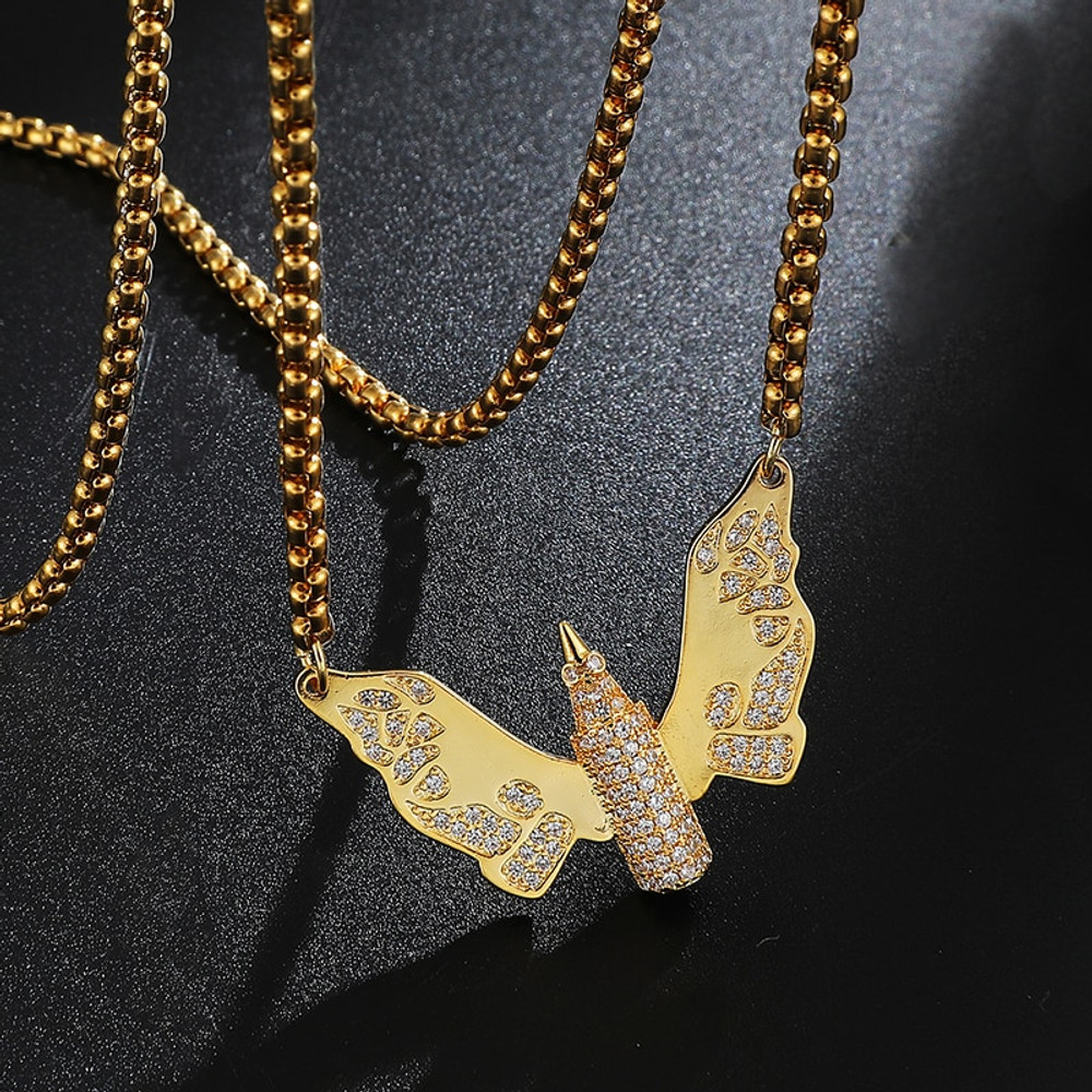 Hip Hop Iced Pave Set 18k Gold .925 Silver Angel Wings Bullet Bling Pendant Chain Necklace
