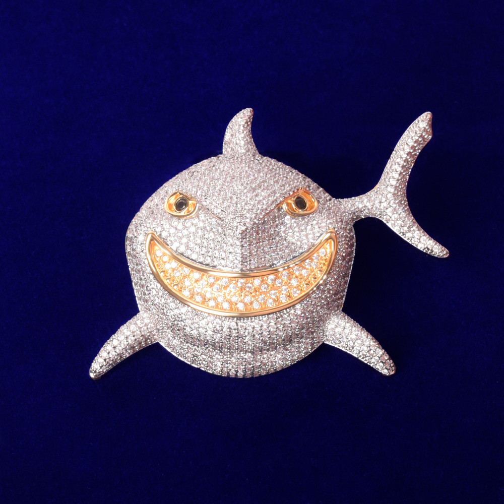 Crazy 18k .925 Crushed Ice AAA Micro Pave Shark Head Pendant 20MM Cuban Chain Necklace