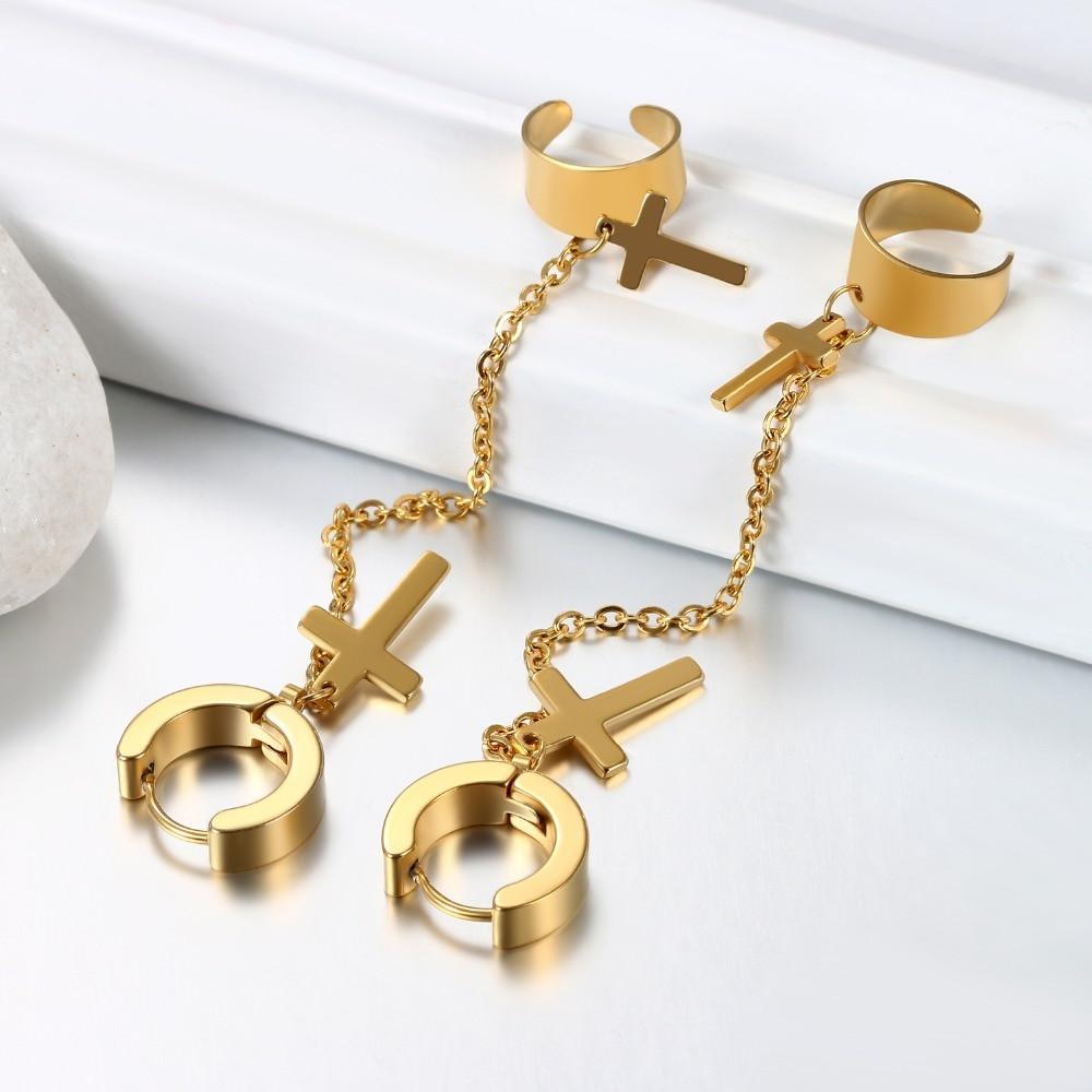 14k Gold Silver Black Stainless Steel Double Cross Cuff Chain Earrings