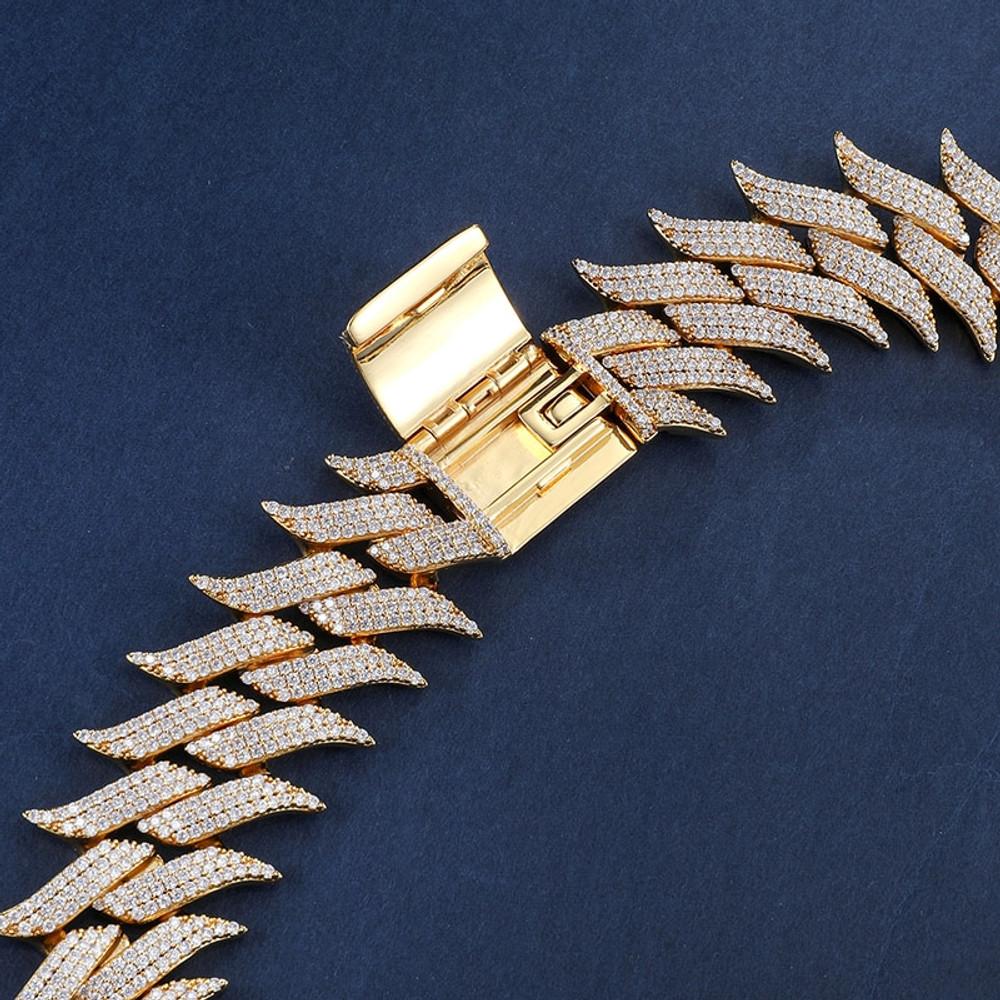 Fire Boy Flame Hot Boy 18k Gold .925 Silver Flooded Ice Hip Hop Cuban Link Chain Bracelet Set