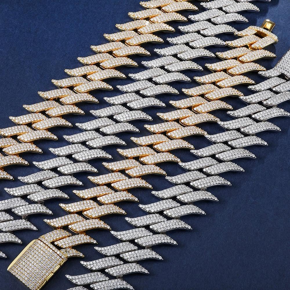 Fire Boy Flame 18k Gold .925 Silver Flooded Ice Hip Hop Cuban Link Chain Bracelet Set
