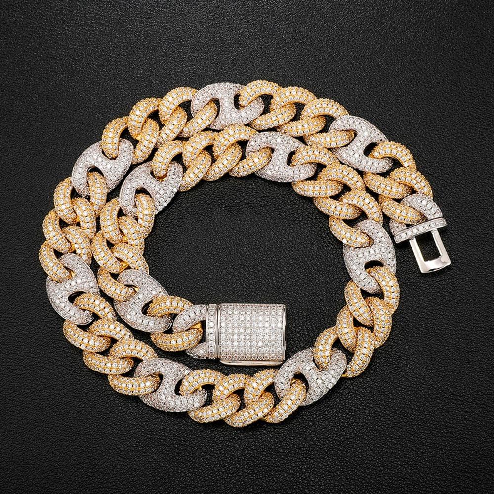 Multi Color Hot Boy 18k Gold .925 Silver Flooded Ice Bling Cuban Link Chain Bracelet Set