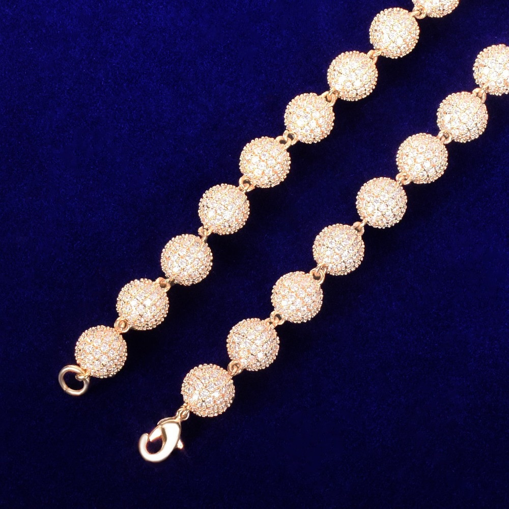 24k Gold .925 Silver 10mm Flooded Ice AAA Micro Pave Ball Round Bead Hip Hop Bracelet