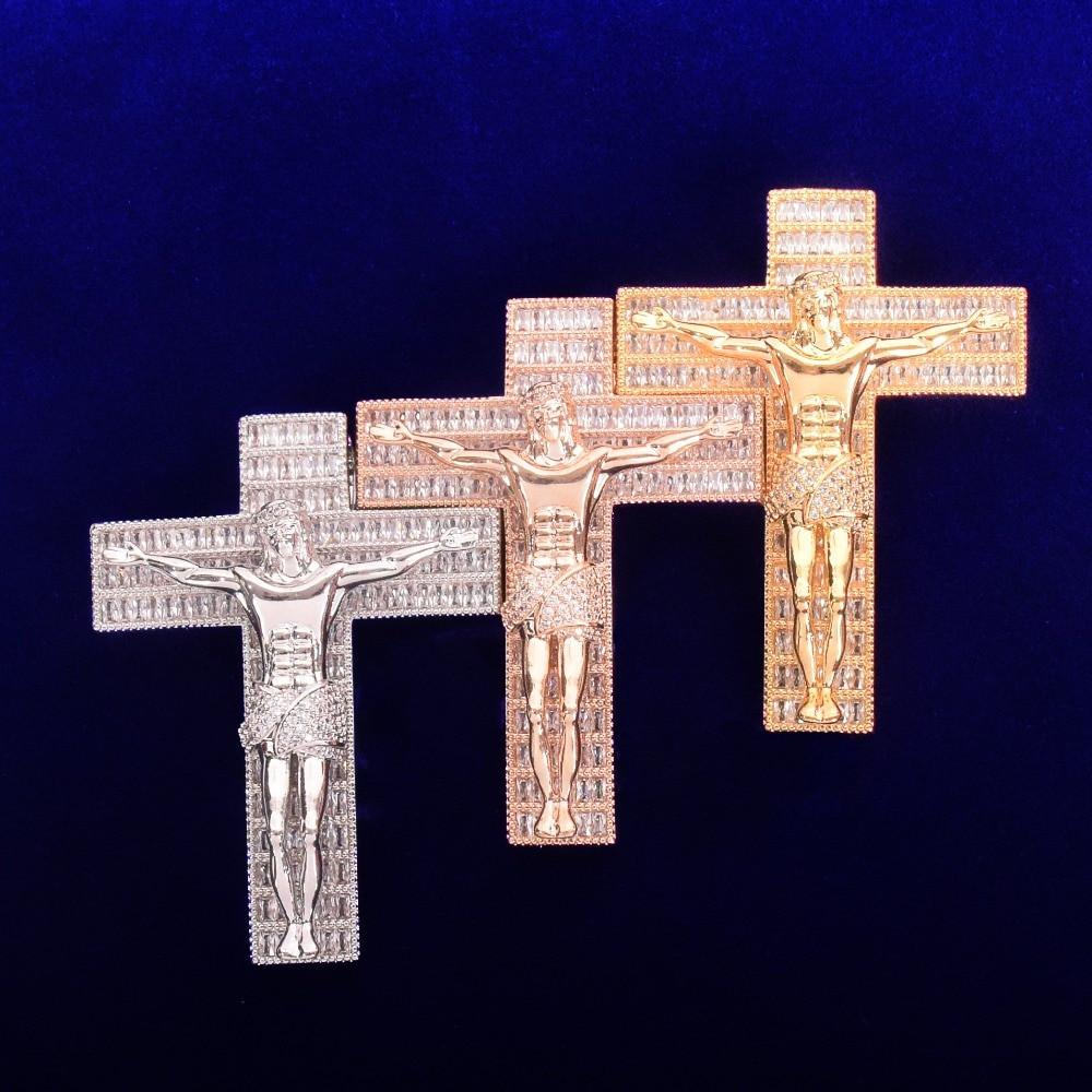 18k Gold .925 Silver Rose Gold Crucifix Jesus Cross Baguette Flooded Ice Hip Hop Pendant