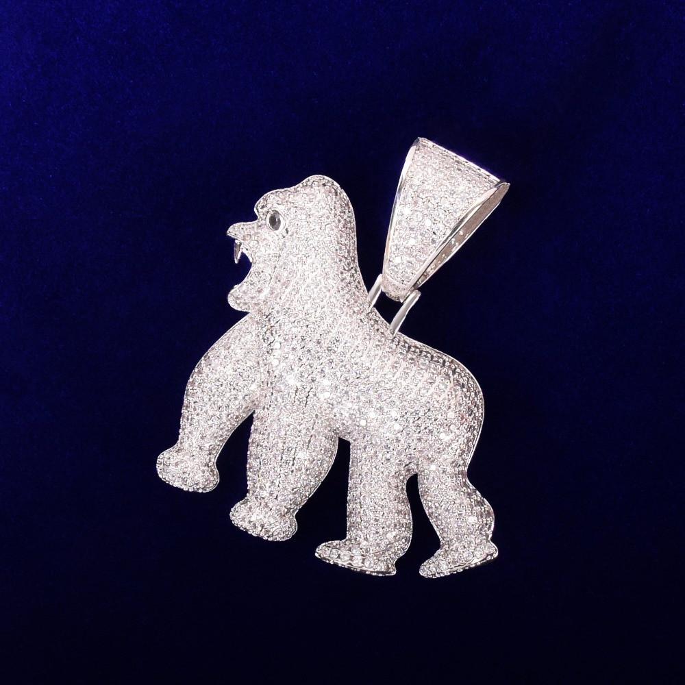 Bling .925 Silver Apshit Gorilla Hip Hop Pendant