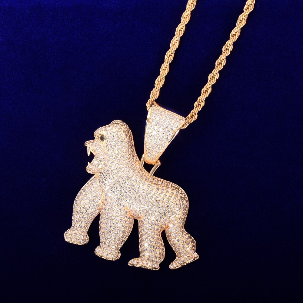 18k Gold Silver Its Real In The Field ApeShit Gorilla Jungle Orangutans Hip Hop Pendant Chain Necklace