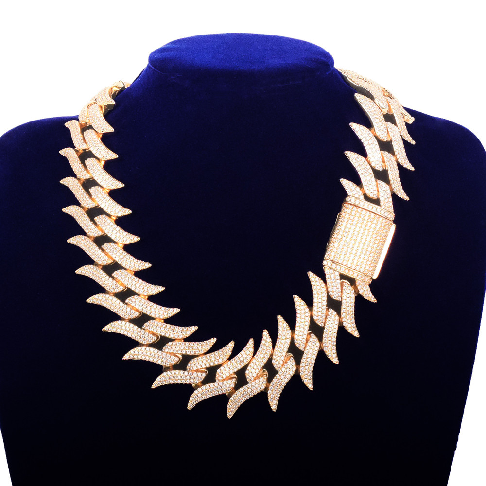 32mm Fire Boy Flame Hot Boy 24k Gold .925 Silver Flooded Ice Hip Hop Cuban Link Chain