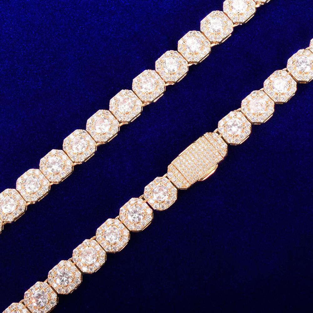 Mens Big Boy Flooded Ice 18k Gold 925 Silver Center Stone Street Rock Bling Bracelets
