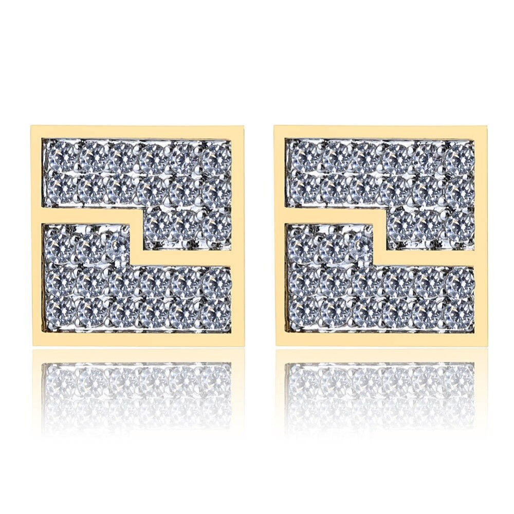 12mm Flooded Ice 14k Gold Over .925 Sterling Silver Square Hip Hop Screw Back Earrings