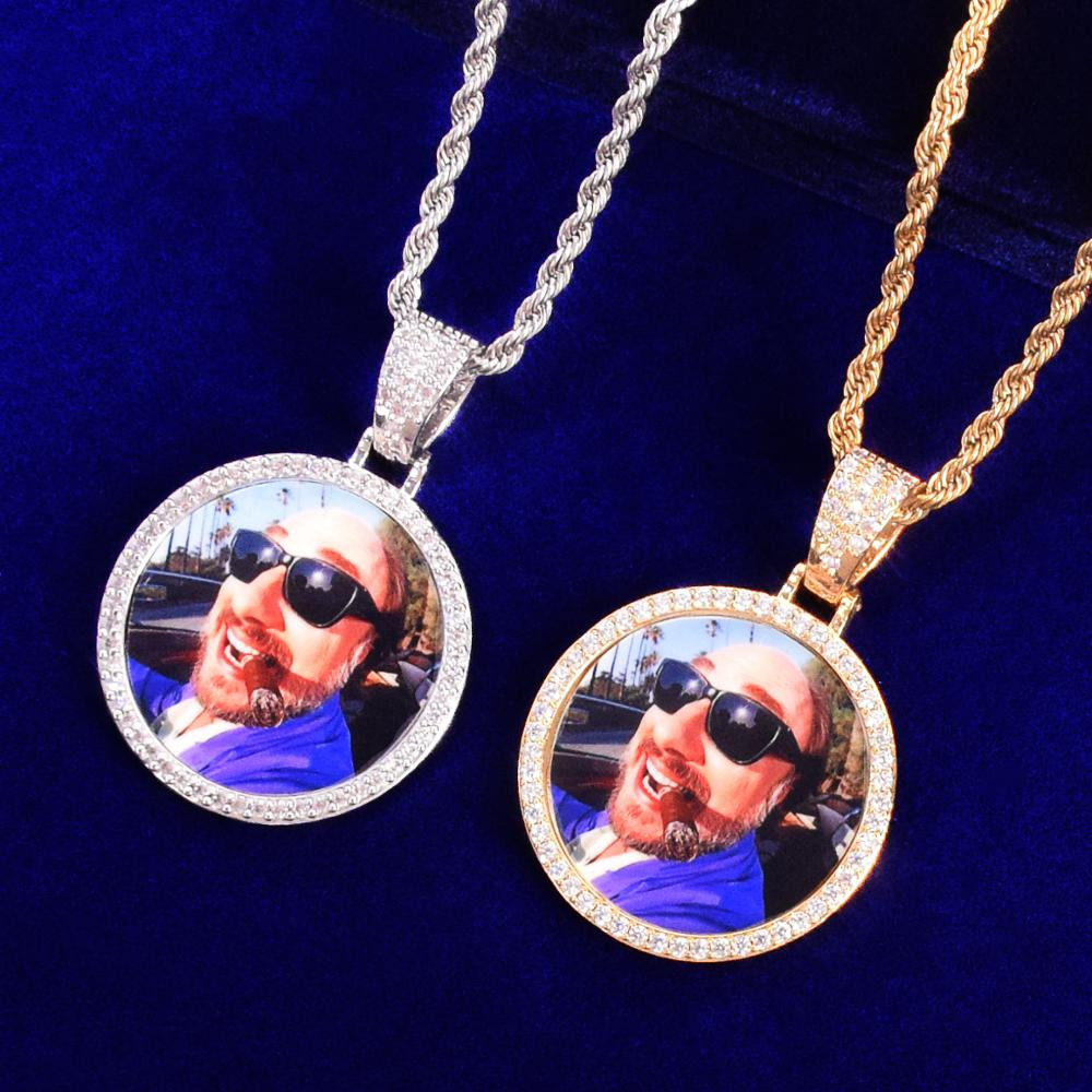 Flooded Ice 18k Gold Silver Rose Gold Custom Solid Back Picture Medallion Chain Necklace