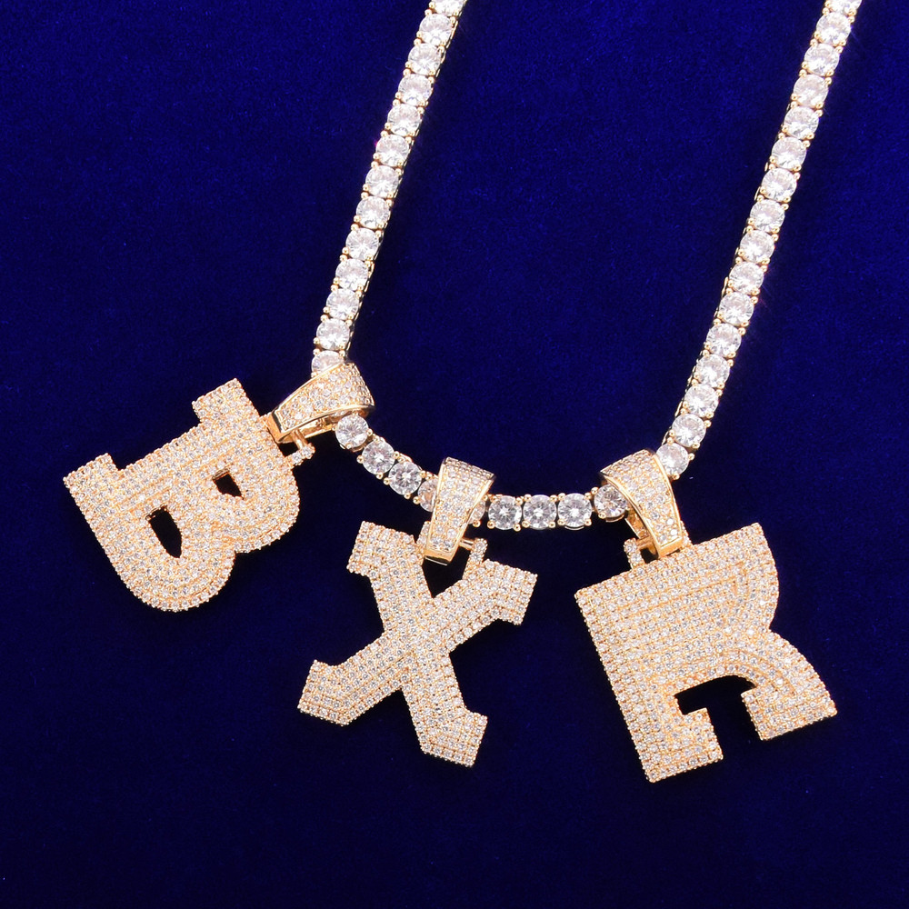 Graffiti Ice 18k Gold .925 Silver Bubble Letter Hip Hop Three-layer Flooded Stone Tennis Chain Pendant