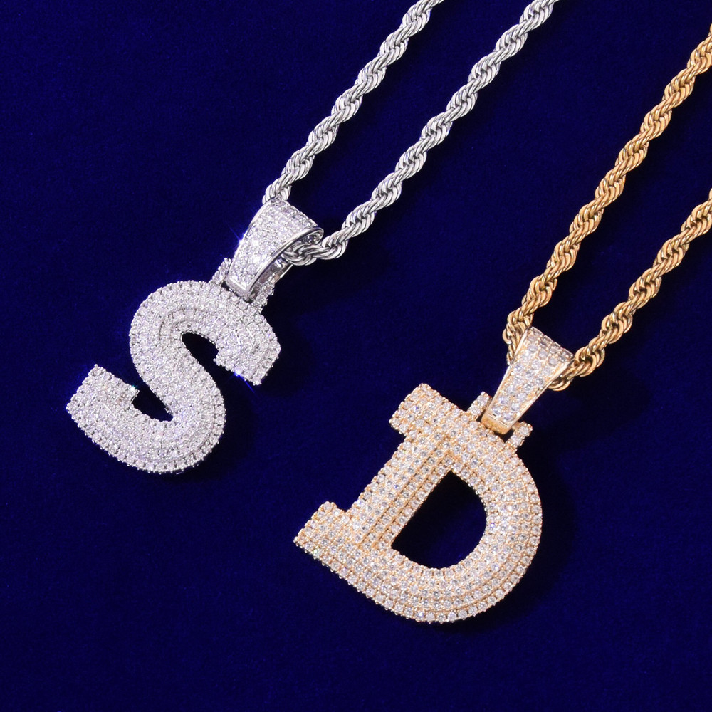 Graffiti Ice 18k Gold .925 Silver Bubble Letter Hip Hop Three-layer Flooded Stone Pendant
