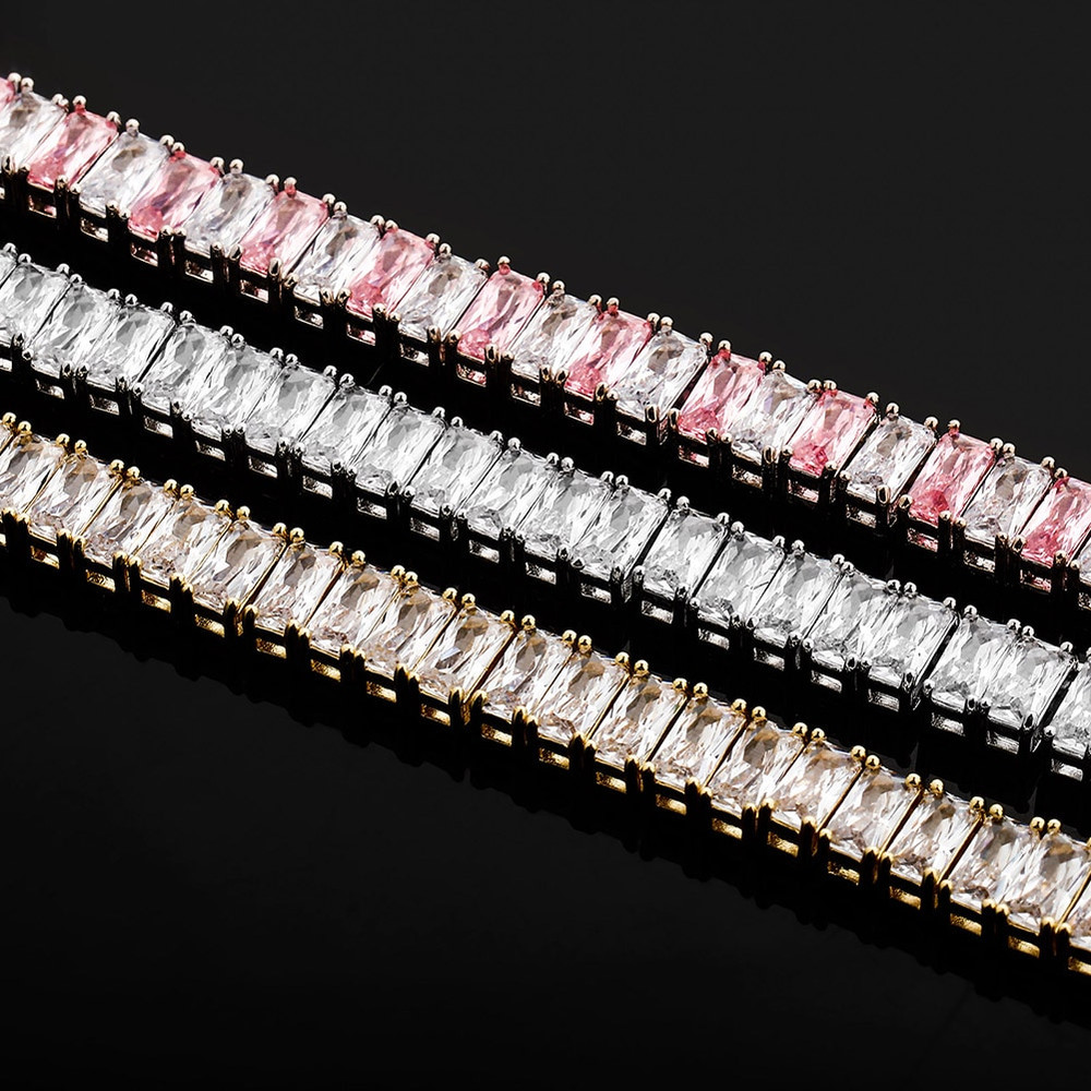 Flooded Ice All Baguette 8mm Hip Hop 14k Gold 925 Silver Bling Chain Necklace