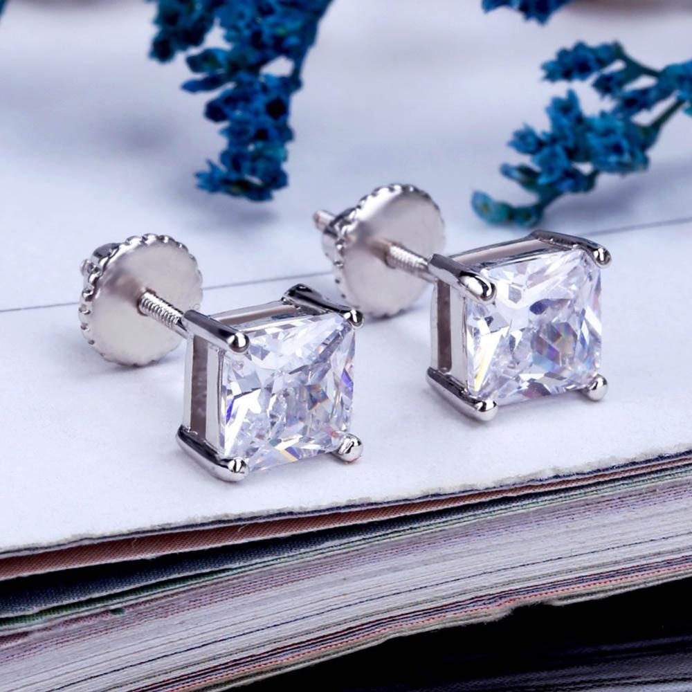 14k Gold / 925 Silver Princess Cut 6mm Simulate Diamond Bling Earrings