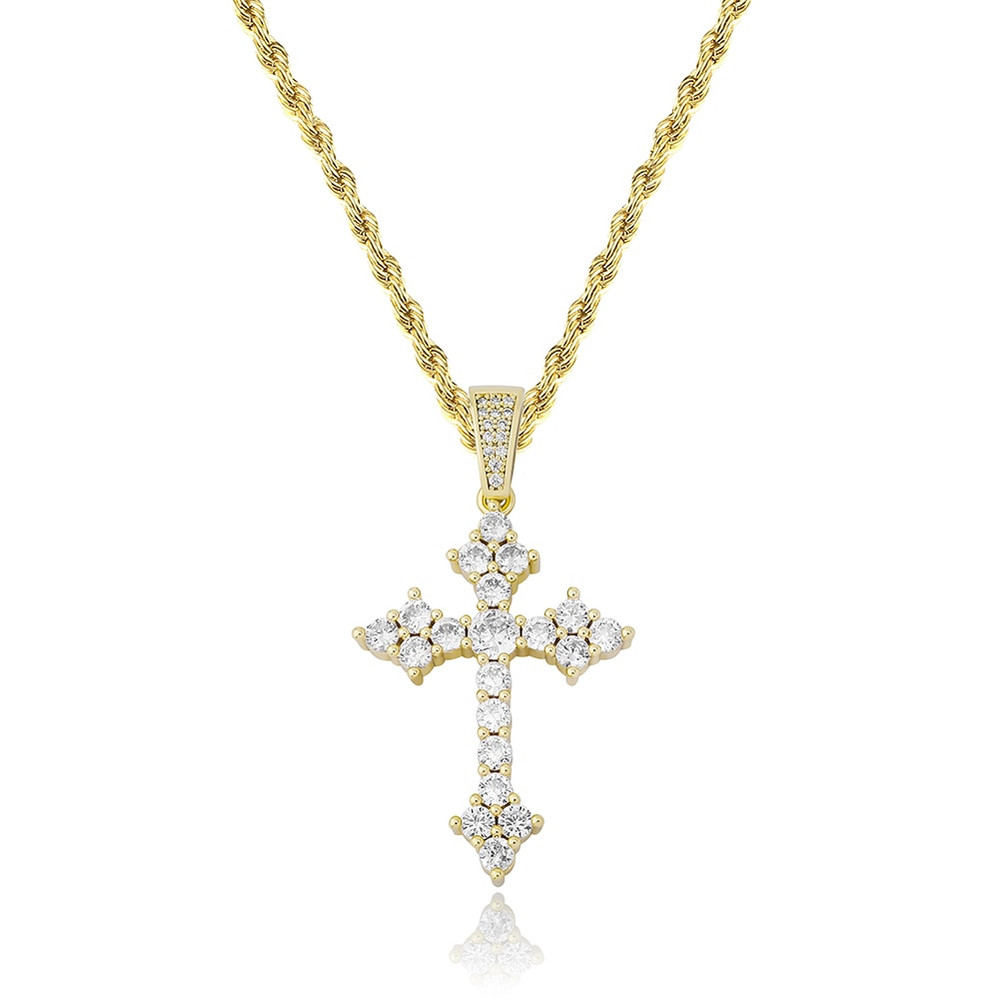 Rose Gold 14k 925 Silver All Ice Hip Hop Arrow Cross Bling Pendant Chain Necklace