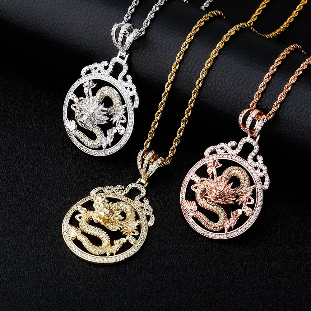 925 Silver Rose Gold 14k Chinese Style Hip Hop Fashion Dragon Pendant Chain Necklace