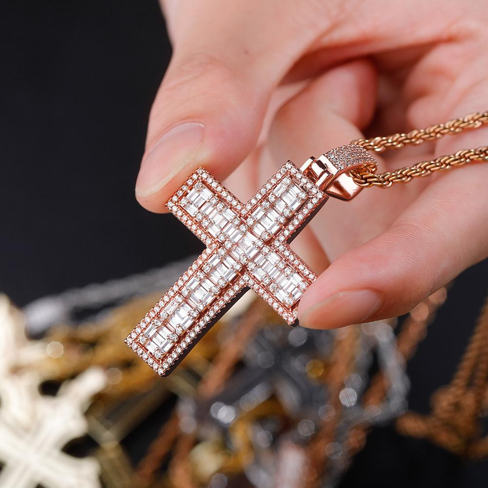 Flooded Ice True Micro Pave 14k 925 Rose Gold Bling Cross Pendant Chain Necklace