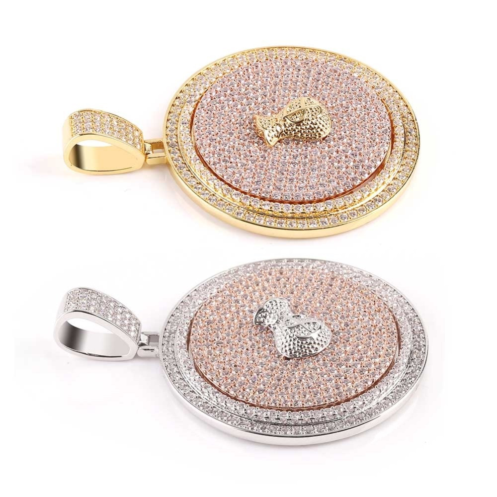 14k Gold 925 Silver Flooded Ice True Micro Pave Moveable Money Bag Hip Hop Pendant