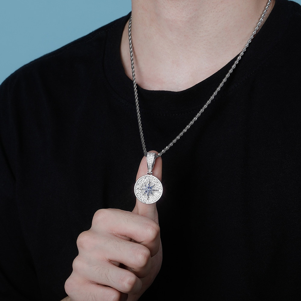 Hip Hop True Micro Pave Flooded Ice Compass Pendant Chain Necklace
