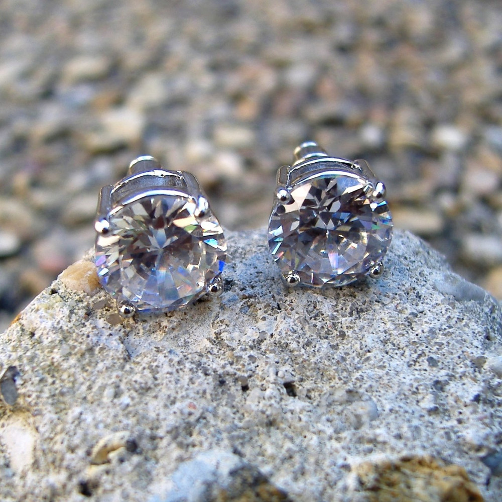 9mm Round Cut Iced Out Diamond Cz Earrings