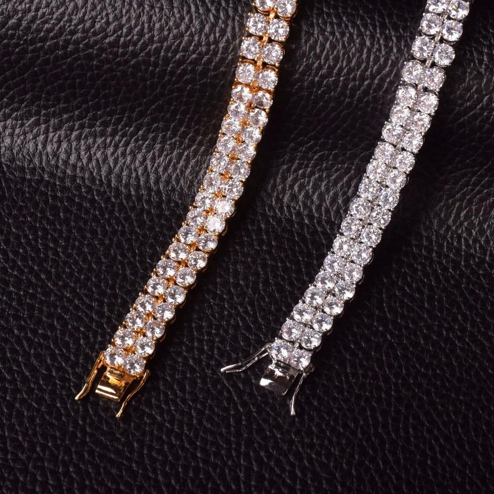 Mens Hip Hop Lab Diamond Stone Double Row Iced Out Bracelet Silver