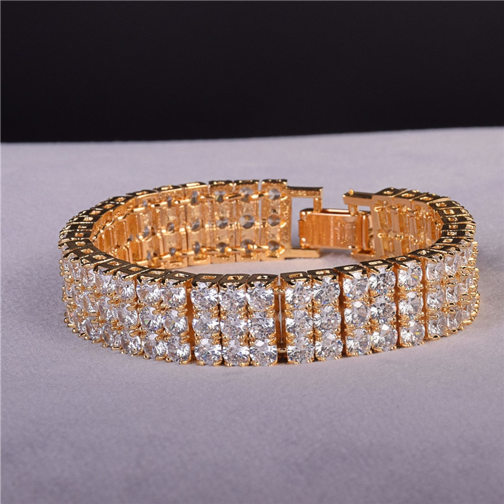 Mens 14k Gold 3 Row Diamond Cz Stone Pharaoh Bracelet
