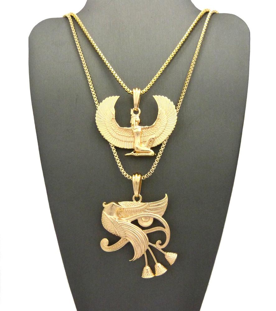 Eclectic Eye Of Ra Horus Falcon Of Tutankhamun Pendant Gold