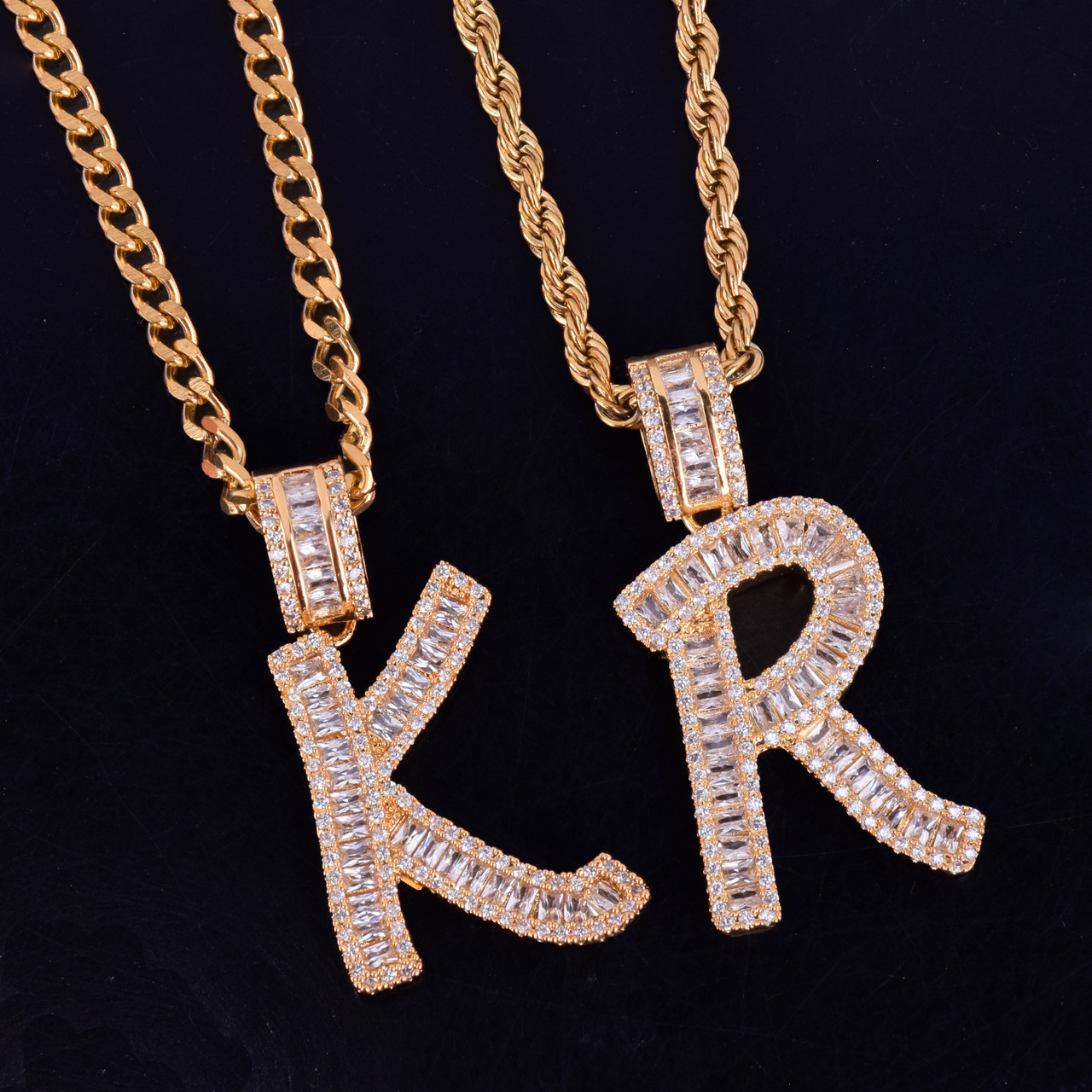 L Premium Bling 925 Sterling Silver Letter Pendant L gold