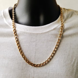 """Men's 7mm 24"""" Thick Classic Cuban Link Chain Necklace Gold"""