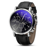 Mens Luxury Fashion Blue Ray Glass Leather Watch