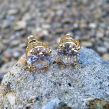 14k Gold 10mm Simulated Diamond Hands Set Iced Out Earrings