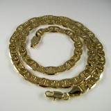 8mm 24 Inch Gold Hip Hop Mariner G-Link Chain Necklace